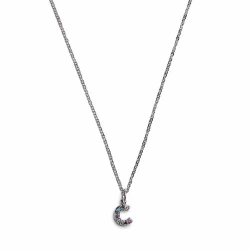 Initial Necklace - Silver - C