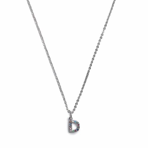 Initial Necklace - Silver - D