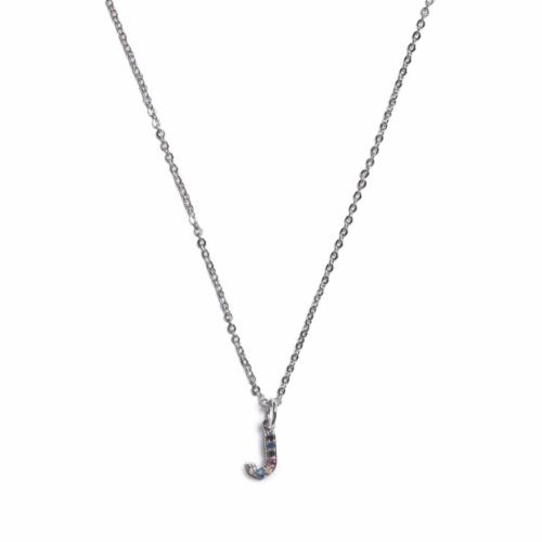 Initial Necklace - Silver - J