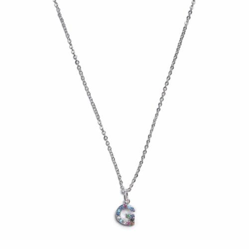 Initial Necklace - Silver - G