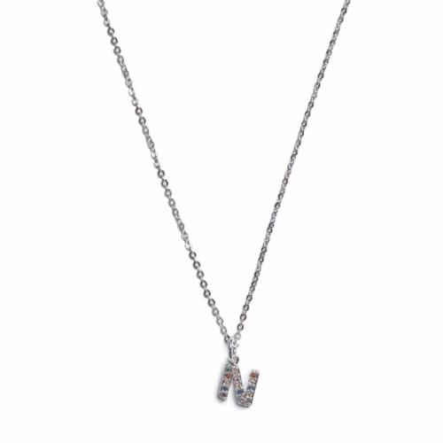 Initial Necklace - Silver -N