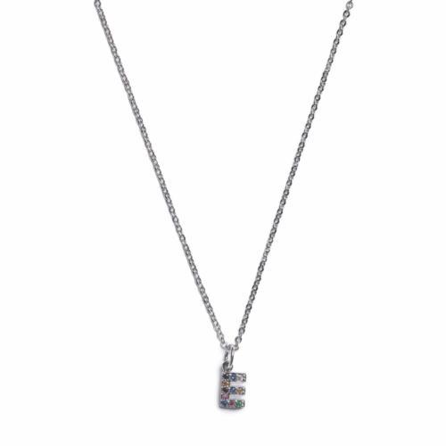 Initial Necklace - Silver - E