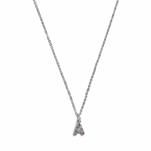 Initial Necklace - Silver - A