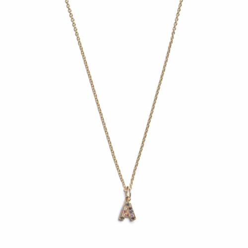 Initial Necklace- Gold -A