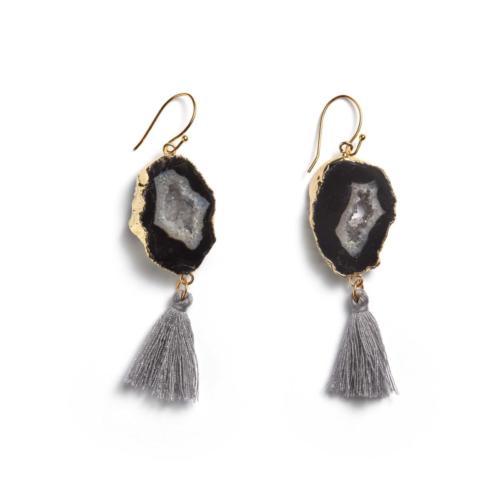 Agate Tassel Earrings- Grey