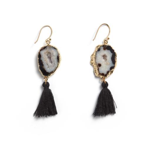 Agate Tassel Earrings - Black