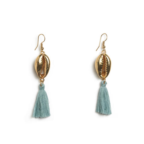 Shell Tassle Earrings - Turquoise