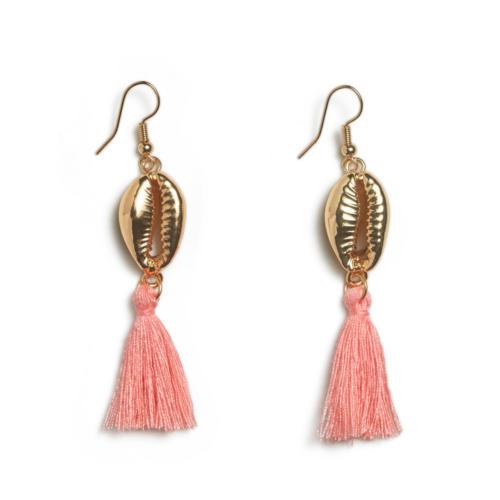 Tassel Shell Earrings - Coral